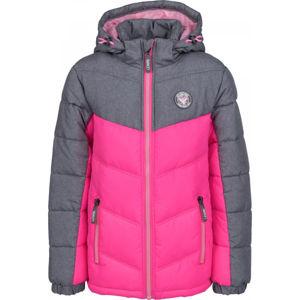 Lewro ILAYA růžová 140-146 - Dětská prošívaná bunda