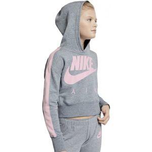 Nike NSW CROP PE AIR šedá XS - Dívčí mikina s kapucí