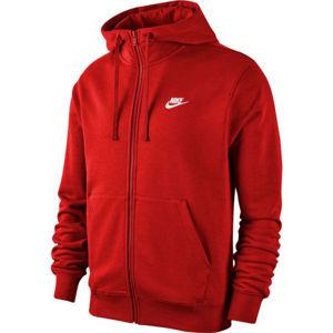 Nike NSW CLUB HOODIE FZ FT M červená M - Pánská mikina