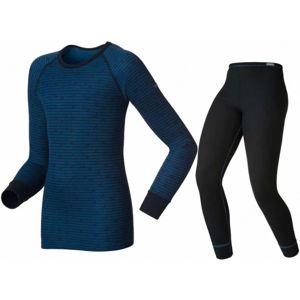 Odlo SHIRT I AND PANTS WARM modrá 164 - Dětské technické spodní prádlo
