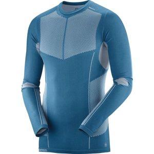Salomon PRIMO WARM SEAMLESS TEE modrá L - Pánské triko