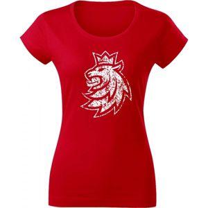 Střída LOGO LEV PATINA CIHT červená M - Dámské triko